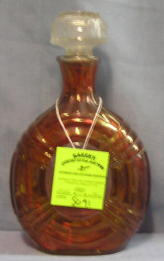 Vintage cranberry and clear liquor decanter