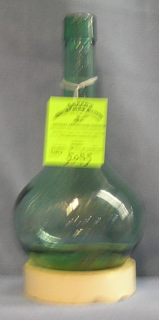 Vintage molded green glass decanter