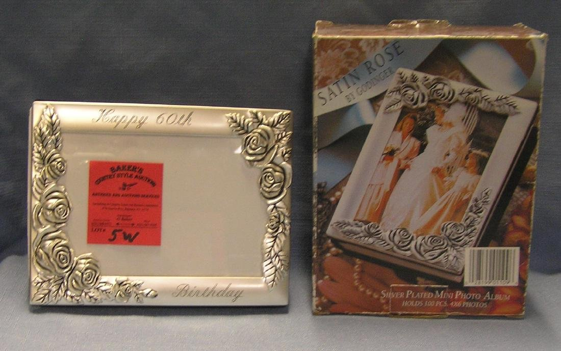 Modern silver plated mini photo album