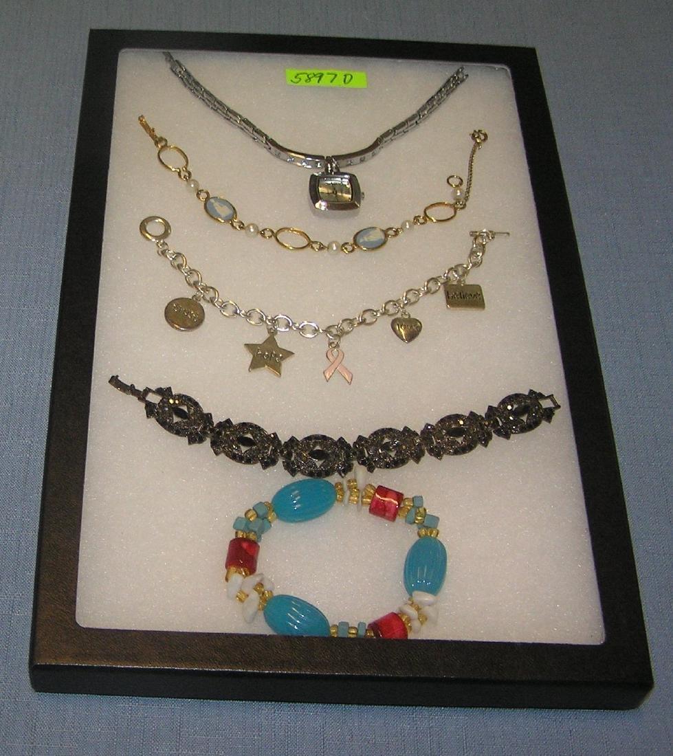 Group of vintage costume jewelry bracelets