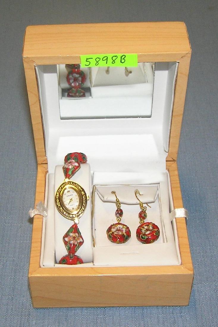 Gruen cloisonne wrist watch and earring set