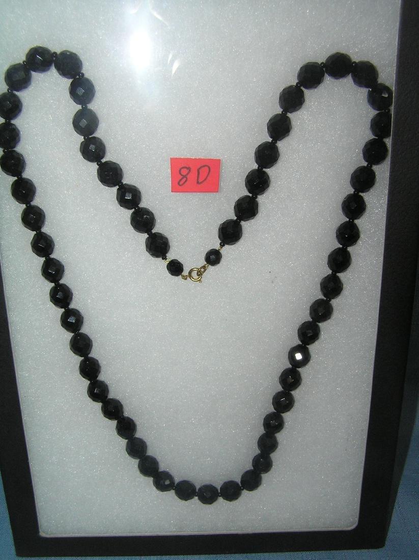 Vintage black onyx hand cut crystal necklace