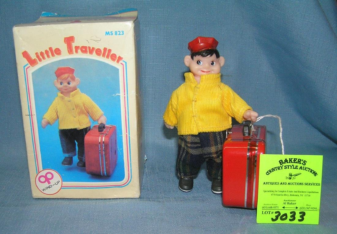 Great tin windup mechanical Little Traveller toy