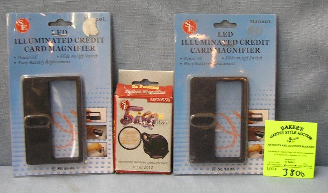 Group of three new magnifying glasses