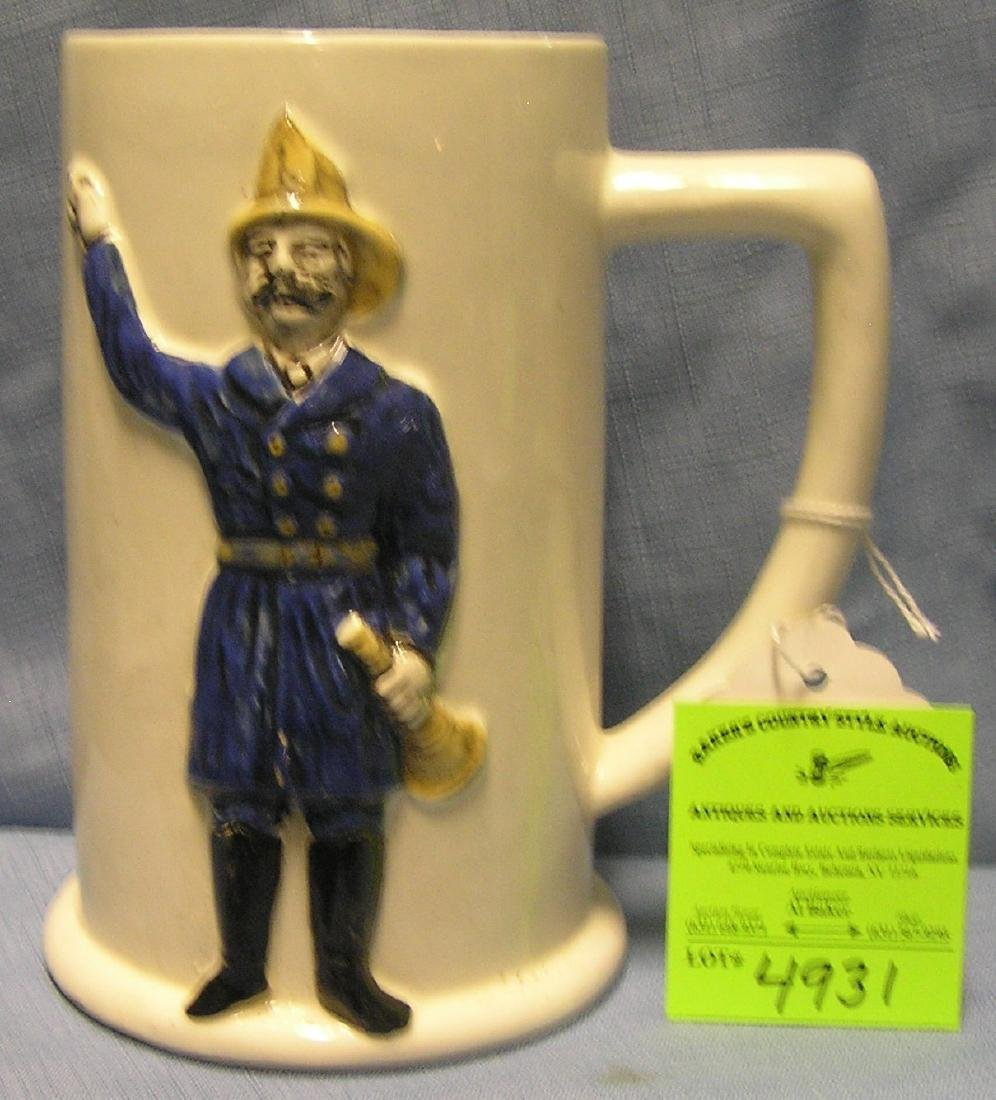 Vintage figural fireman beer mug