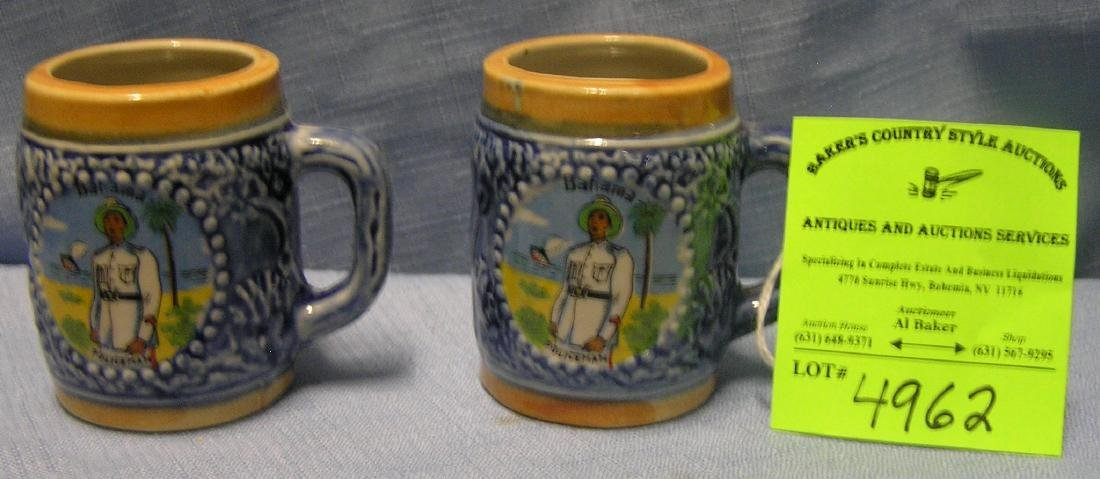Bahamian policemen decorated miniature beer mugs