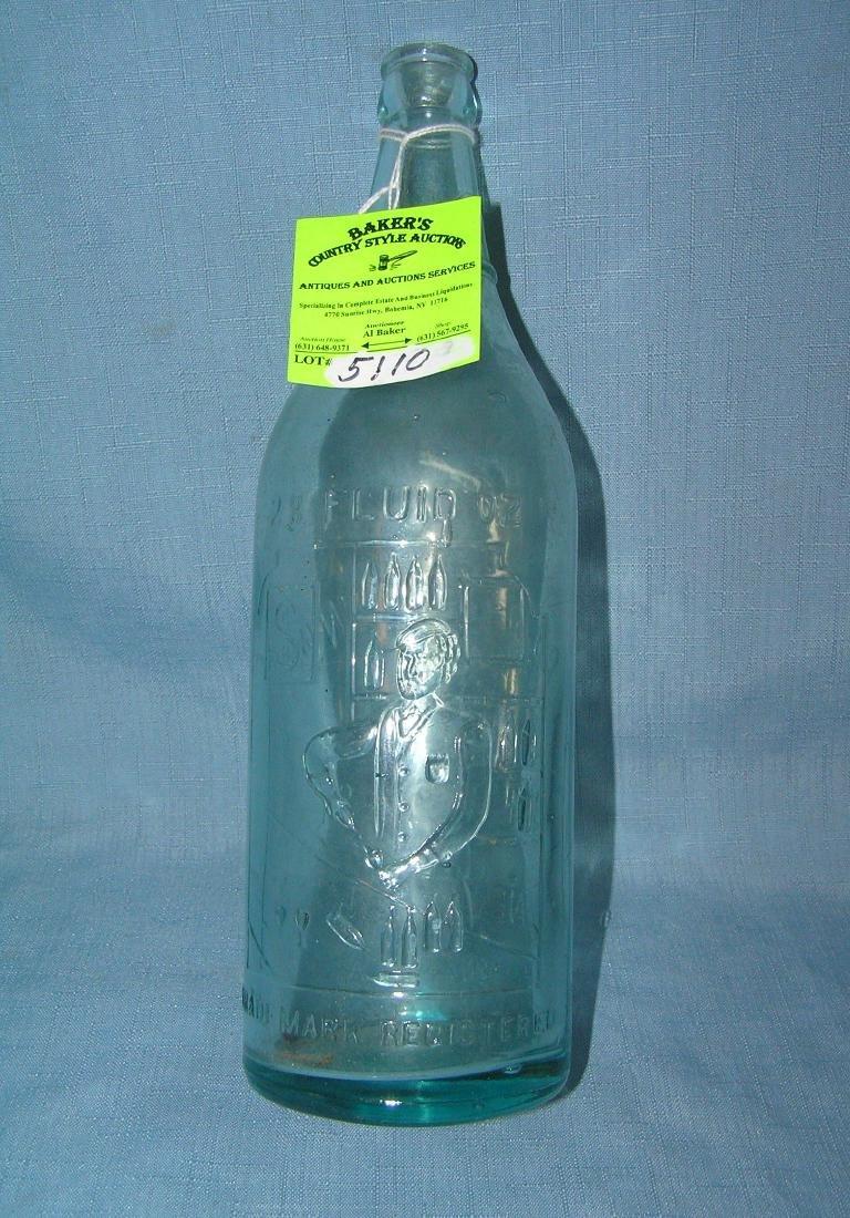 Early Figural bar tender themed beer bottle