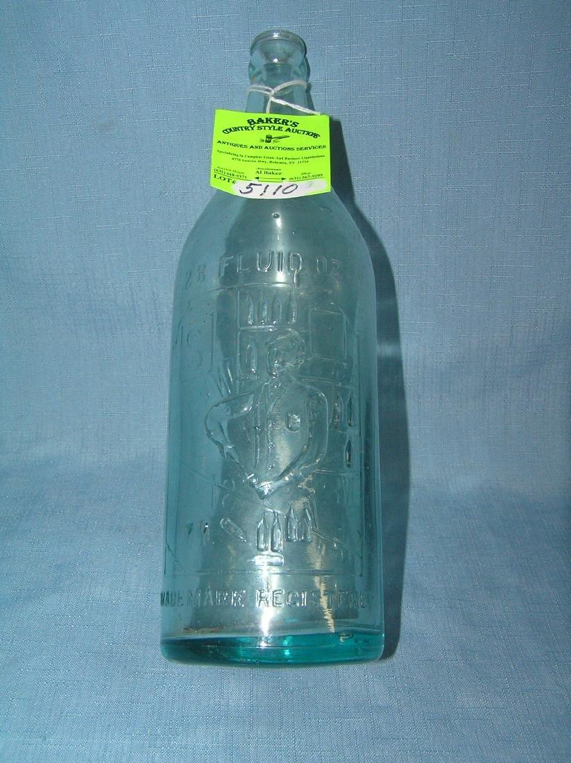 Early Figural bar tender themed beer bottle - 7