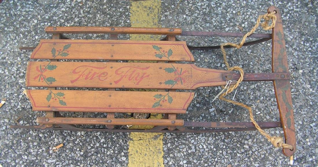 Antique stencil decorated Fire Fly sled