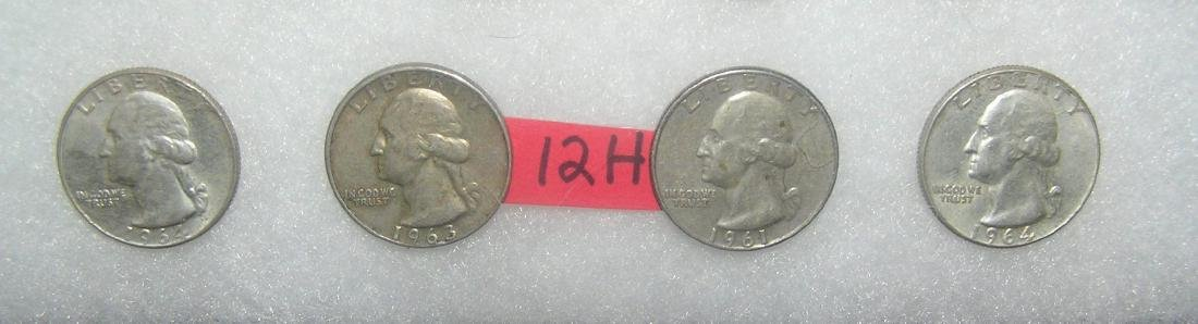 Group of all silver Washington quarters