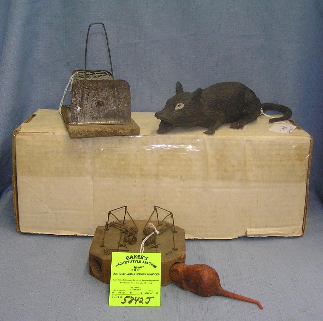 Antique mouse traps, w/ rubber mouse & a rubber rat