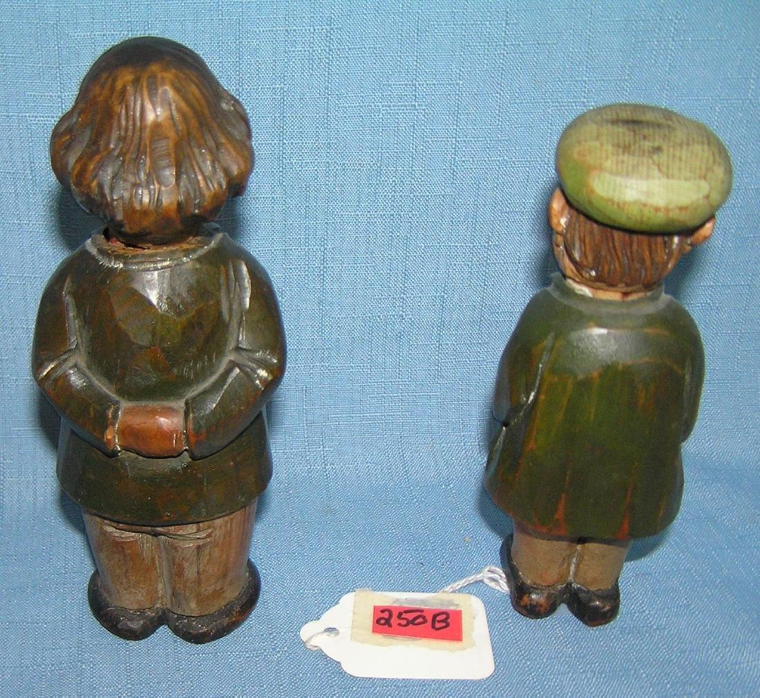 Pair of hand carved gentlemen figures signed Anri - 2