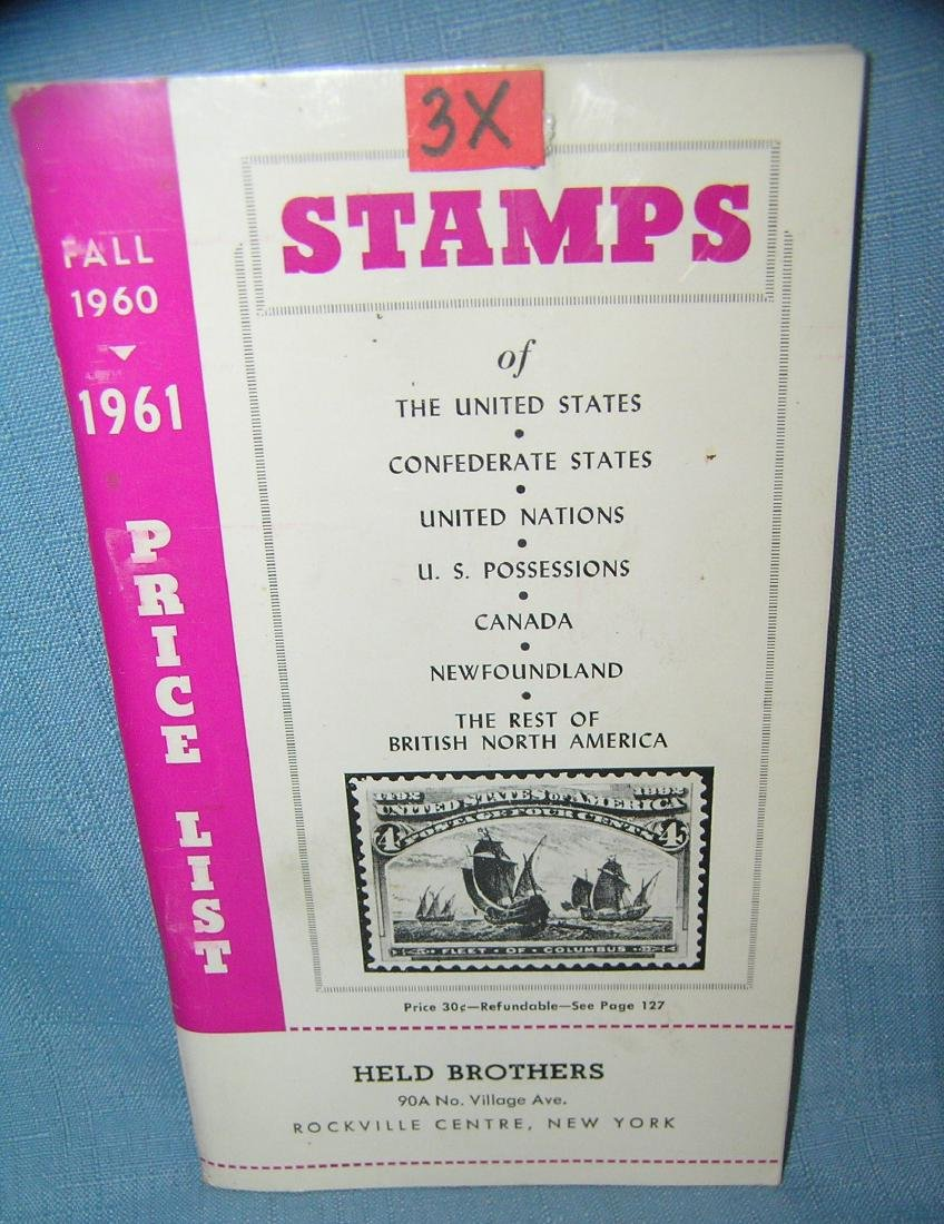 Vintage stamp collecting guide book and price list