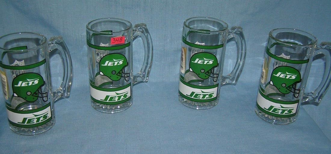 Group of vintage NY Jets beer mugs