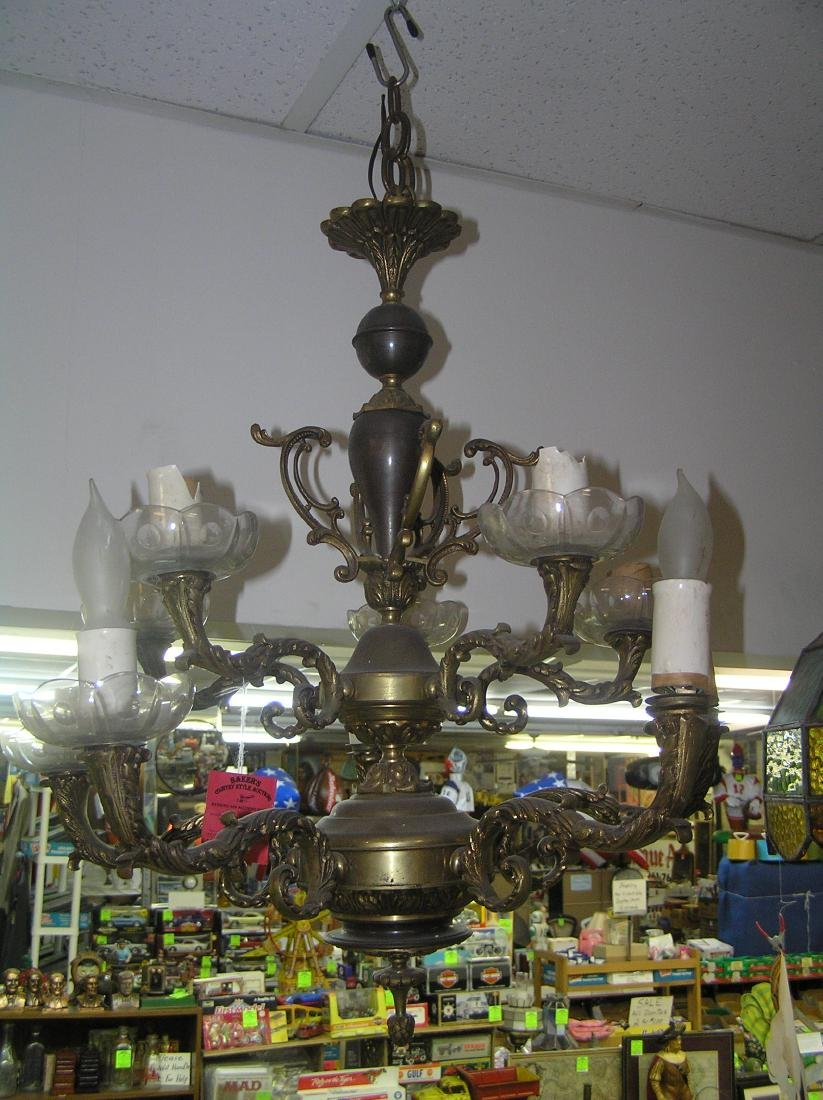 Large antique brass and crystal chandelier