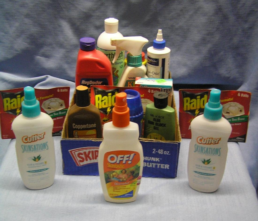 Box full of insect repellant, pet and home care