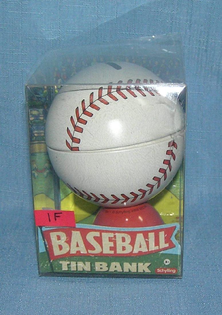 Tin baseball bank with original box