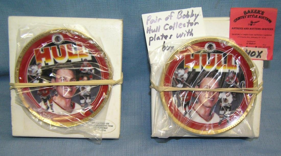 Pair of vintage Bobby Hull hockey collector plates