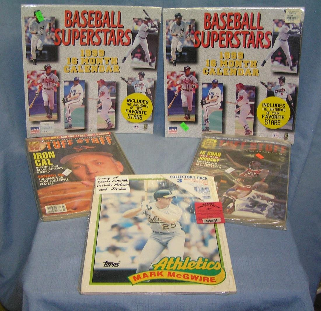 Group of sports collectibles