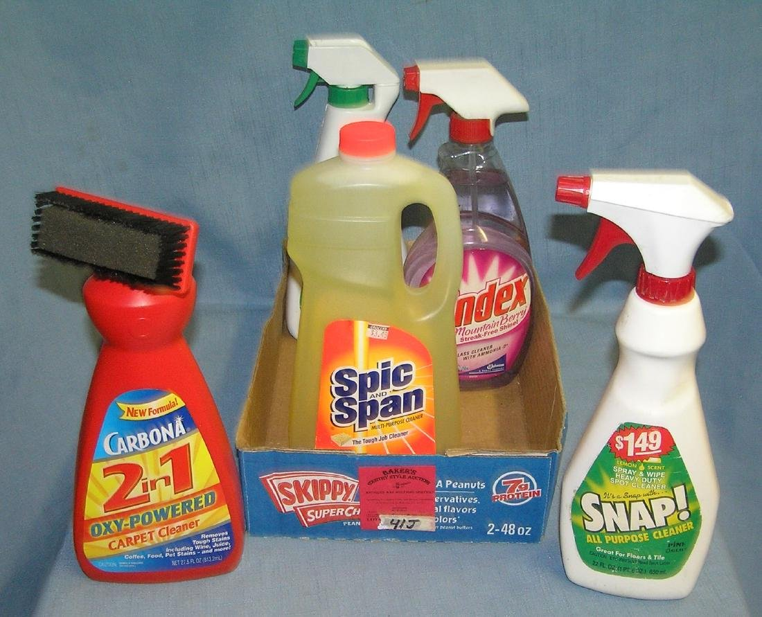Box full of new cleaning supplies