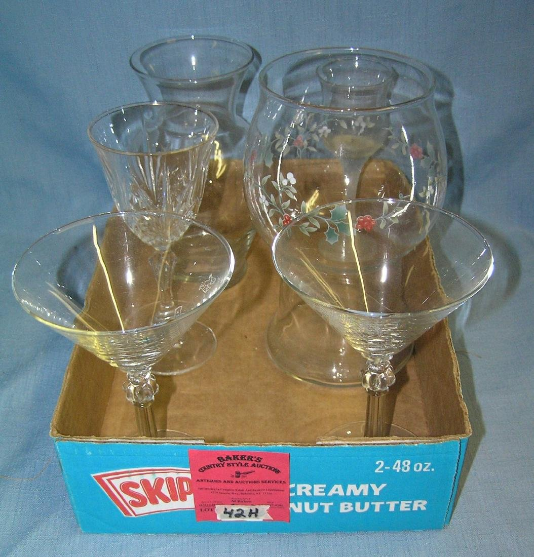 Box full of vintage glass and crystal drink glasses
