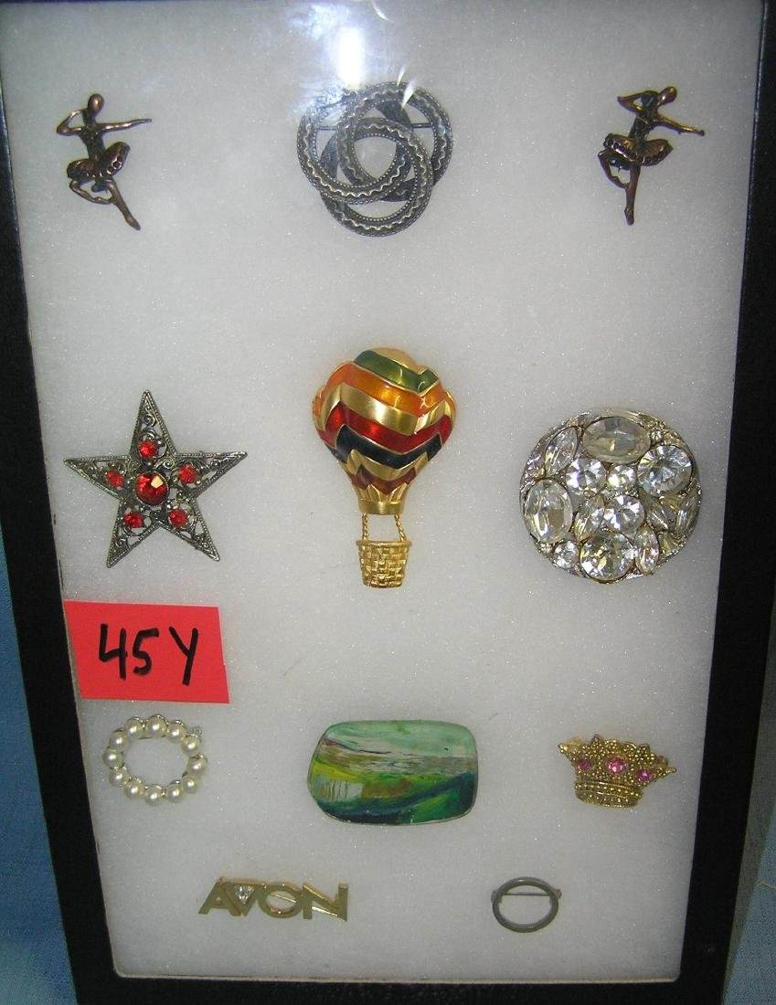 Collection of quality costume jewelry pins