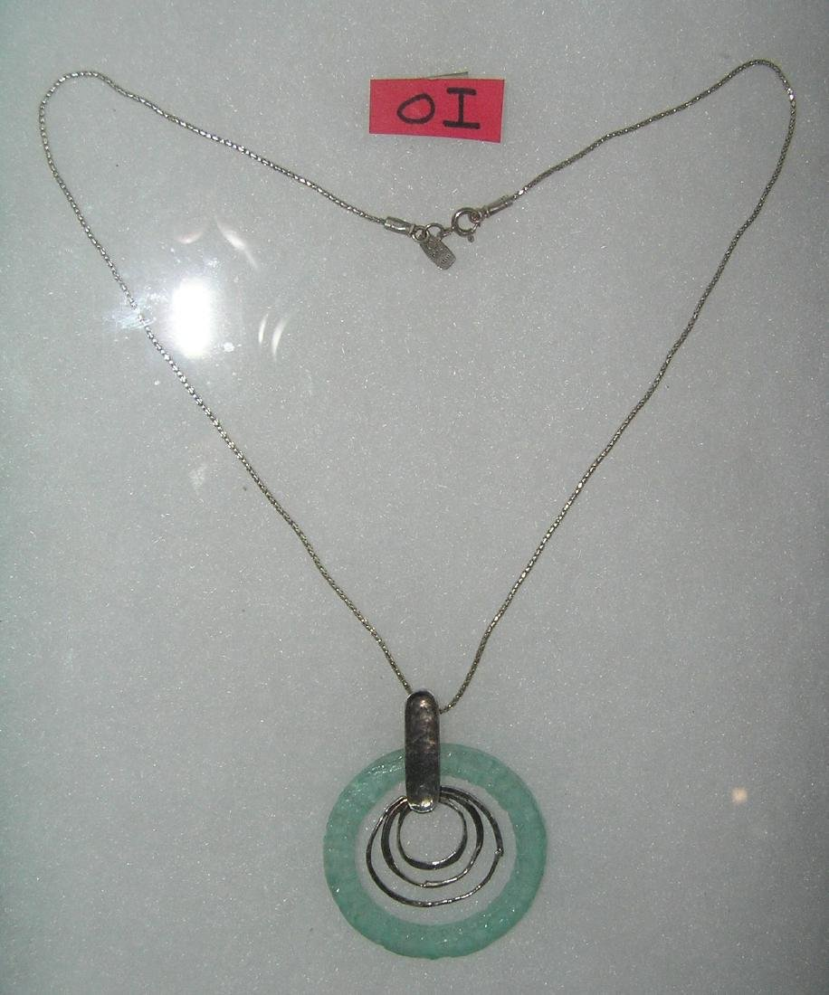 Israeli sterling silver necklace with topaz colored