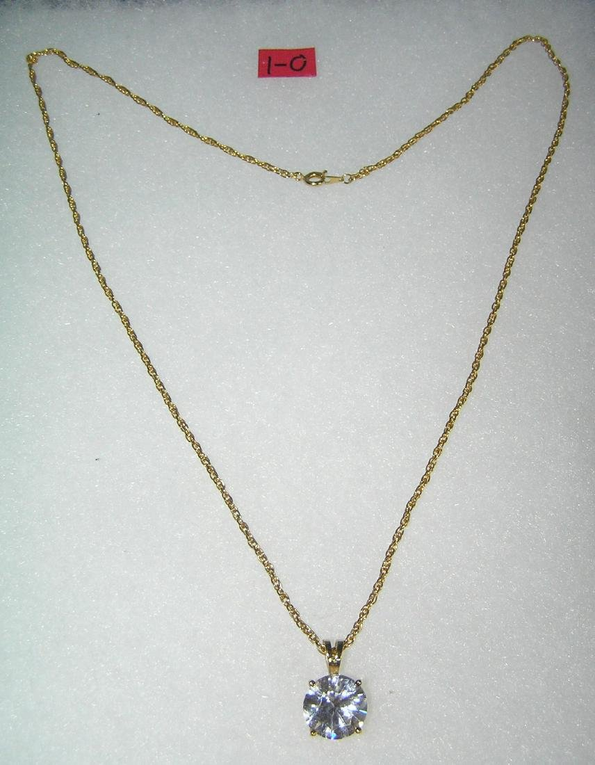 Quality gold tone necklace with large semi precious