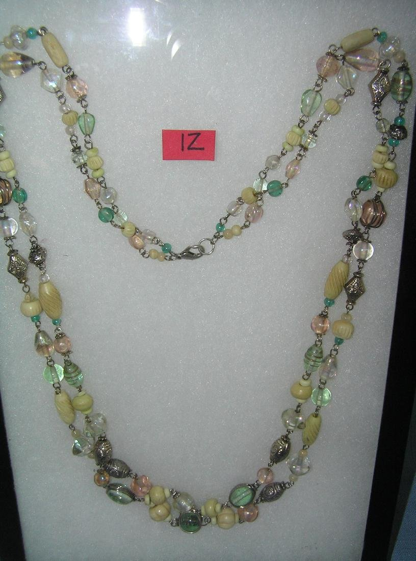 Vintage multicolored bead and silver toned necklace