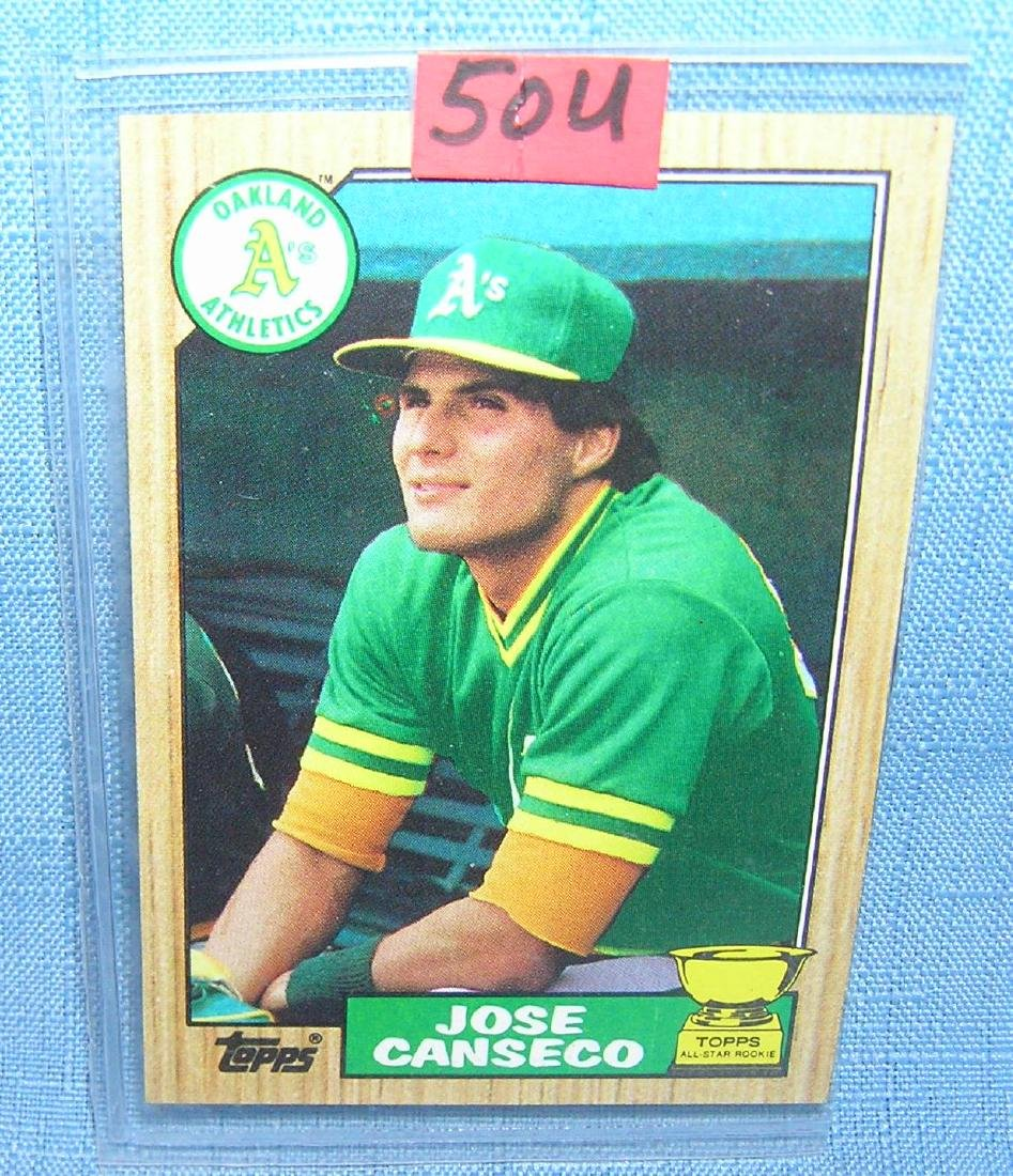 Jose Conseco rookie baseball card