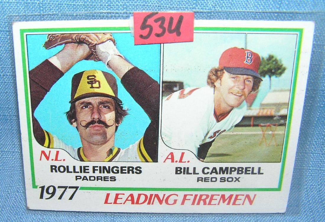 Vintage Rollie Fingers and Bill Campbell Topps baseball