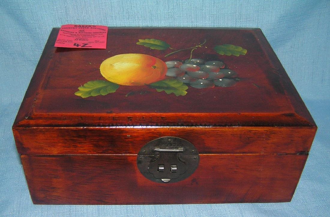 Fruit decorated walnut felt lined jewelry/trinket box