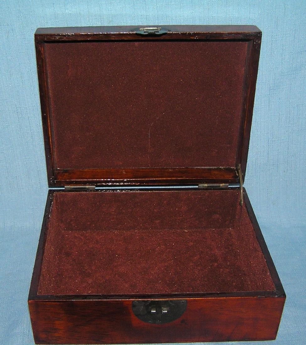 Fruit decorated walnut felt lined jewelry/trinket box - 2