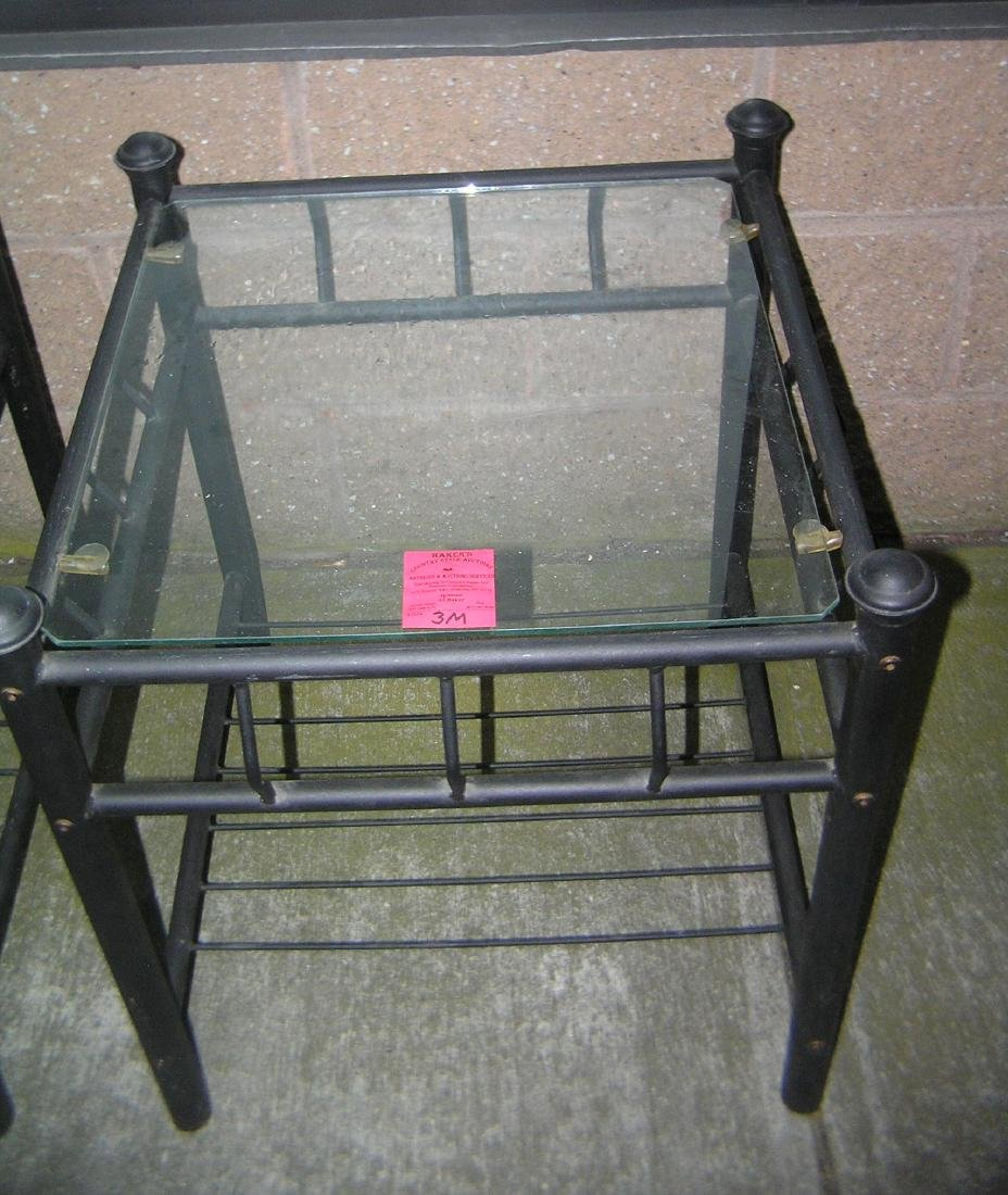 Black iron and glass end table