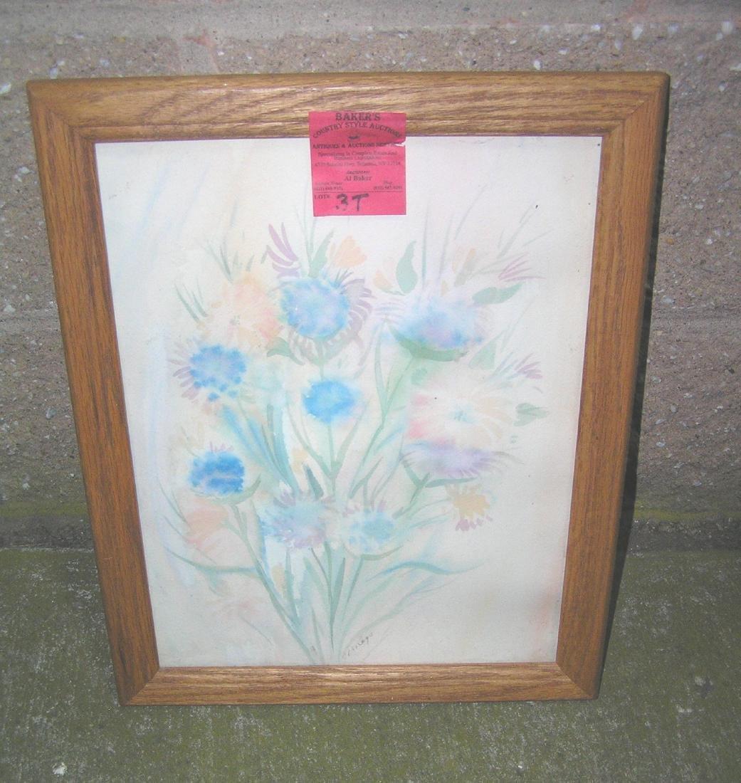 Floral artist signed water color in oak frame