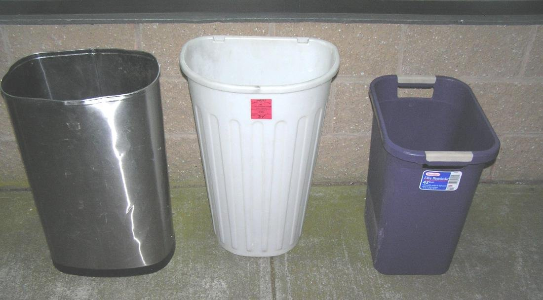 Group of 3 trash pails