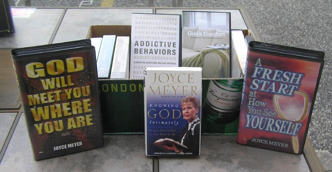 Box of Joyce Meyer inspirational and religious books &