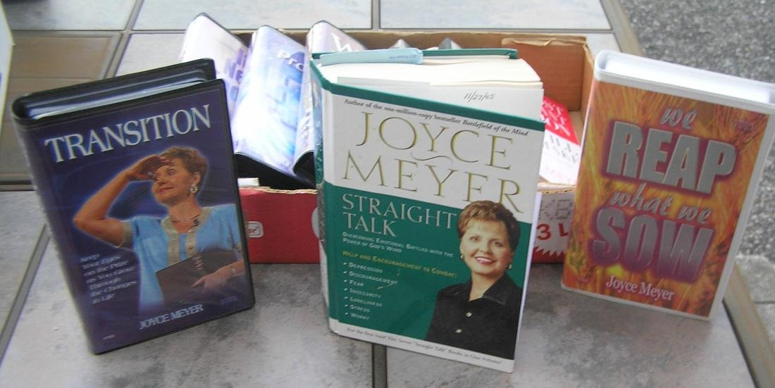 Box of Joyce Meyer inspirational and religious books &