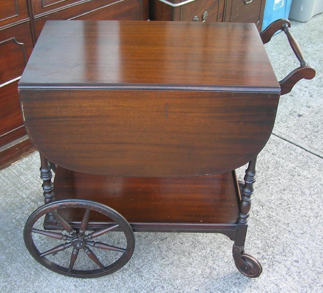Antique dark walnut tea cart