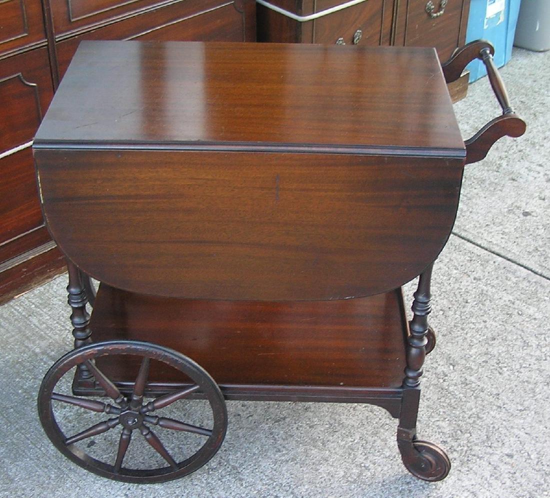 Antique dark walnut tea cart - 3