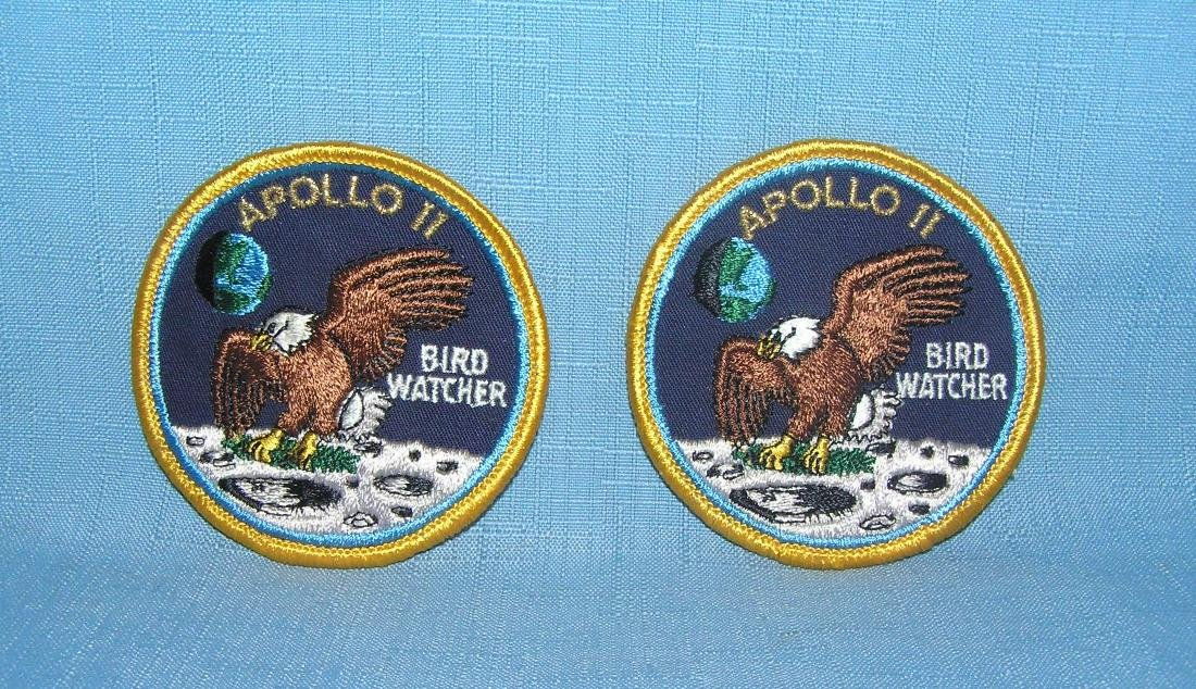 Pair of vintage Apollo 11 bird watcher patches