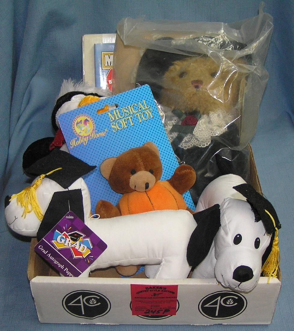 Large box full of stuffed animals and collectibles