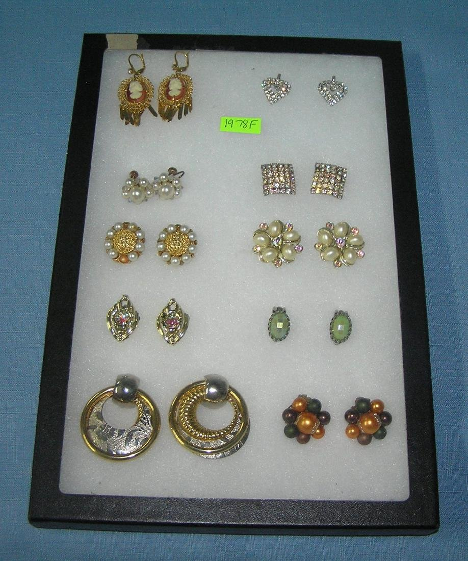 Collection of vintage costume jewelry earrings