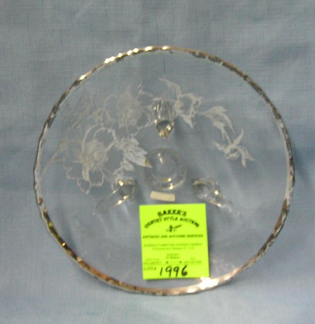 Vintage silver overlay serving dish