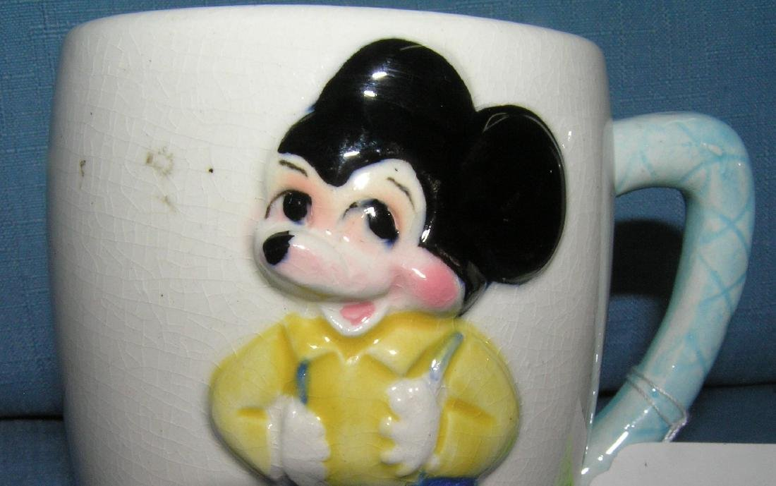 Pair of great early Mickey Mouse milk mugs - 2