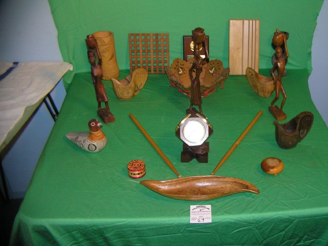 Collection of antique and vintage wood collectibles