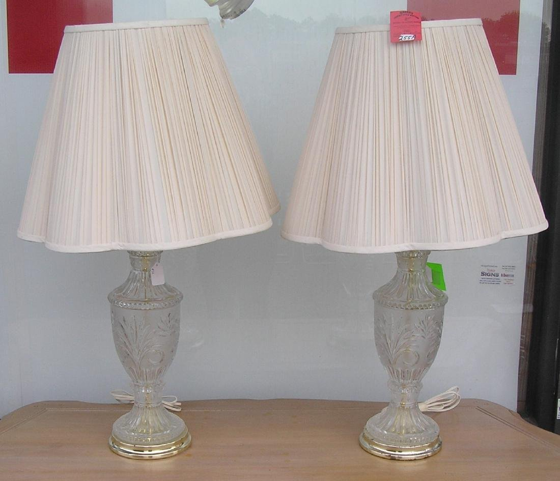 Pair of modern crystal table lamps