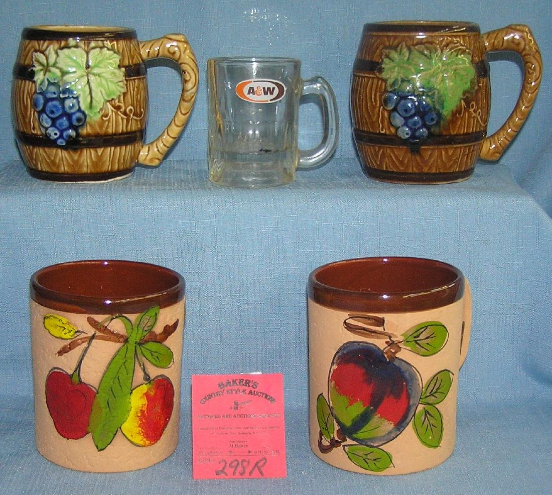 Group of vintage fruit decorated mugs