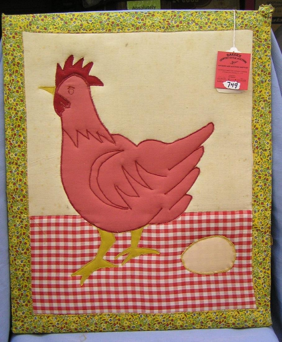 Vintage quilt work hen and egg themed matted artwork