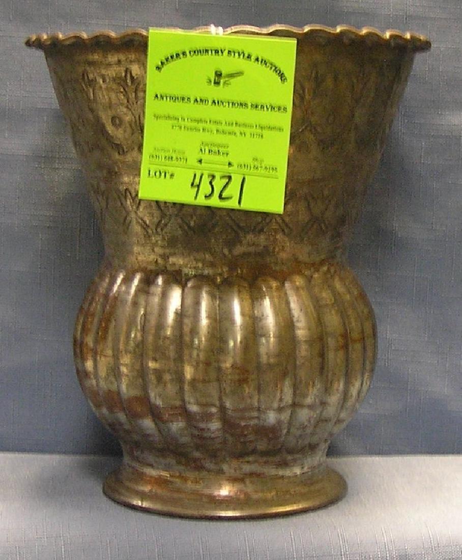 Antique silver over copper hand hammered vase